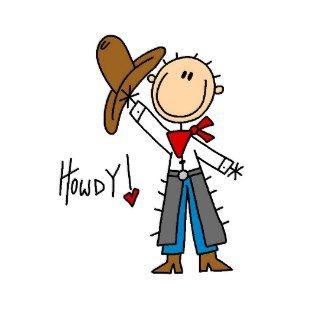 Howdy! Cowboy Stick Figure Sticker sticker
