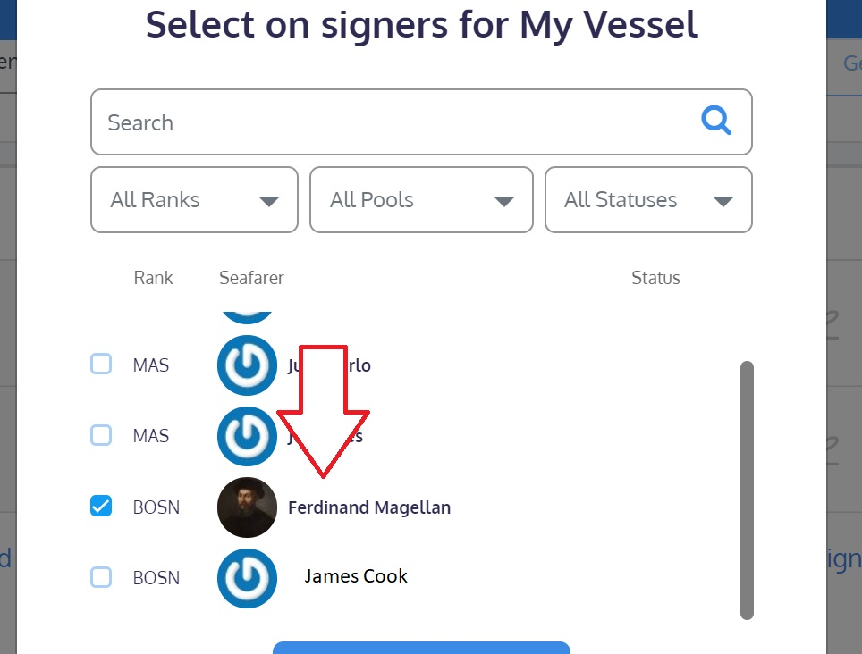 screenshot of the Martide website showing where to select on signers