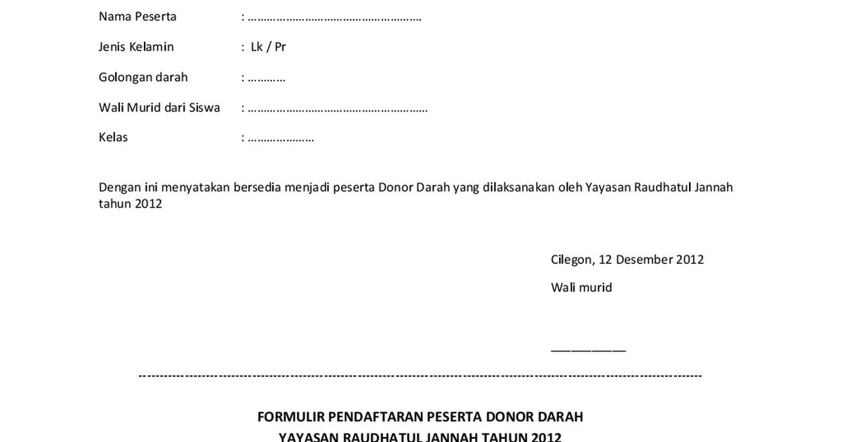 Formulir Pendaftaran Peserta Donor Darah Docx Google Drive