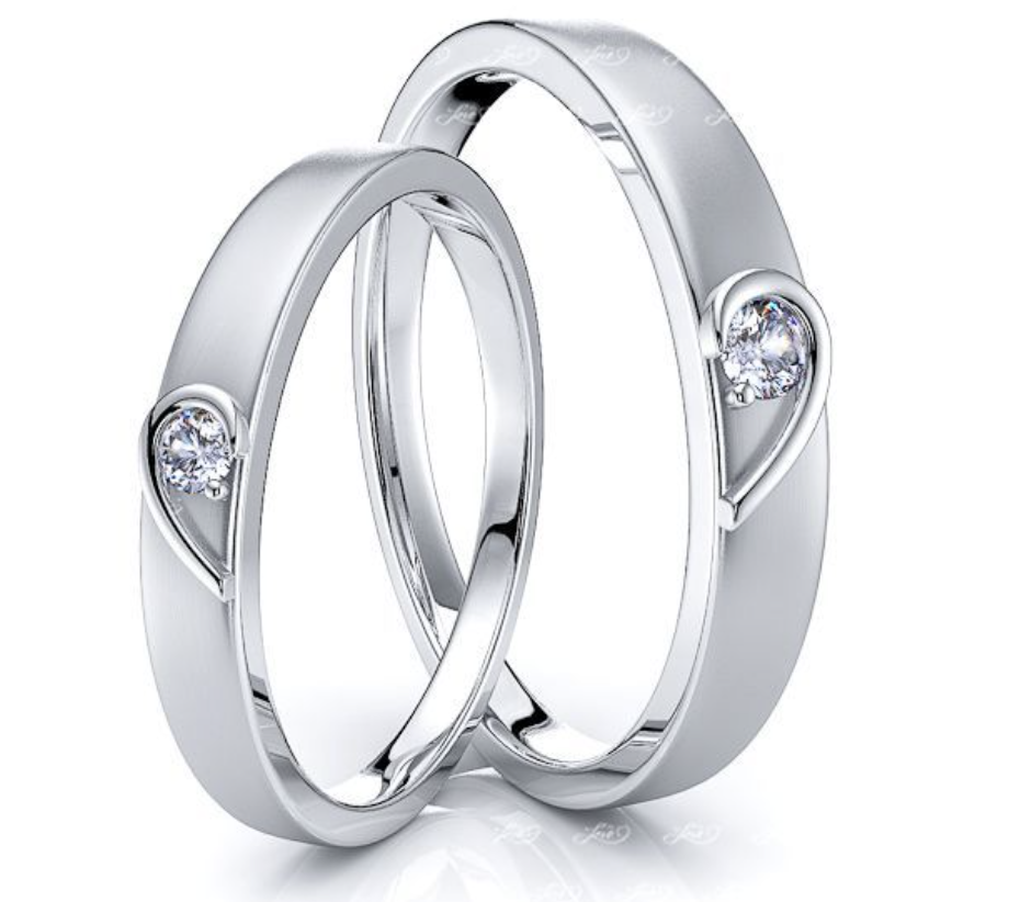 his & hers matching heart wedding band set