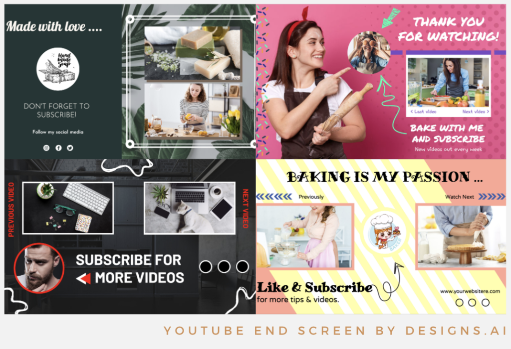 Designs.ai   Must knows to build a quality YouTube channel for your business - Stunning YouTube end screen templates available in Designs.ai