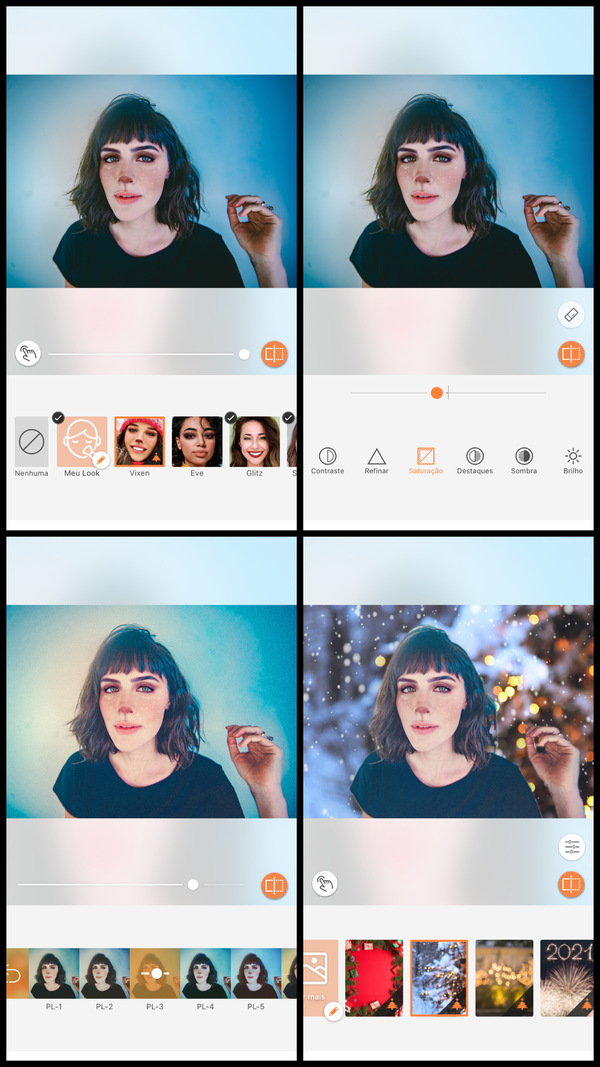 Montagem com 4 fotos de uma mulher com maquiagem de henna mostrando como usar a ferramenta Fundo do AirBrush.