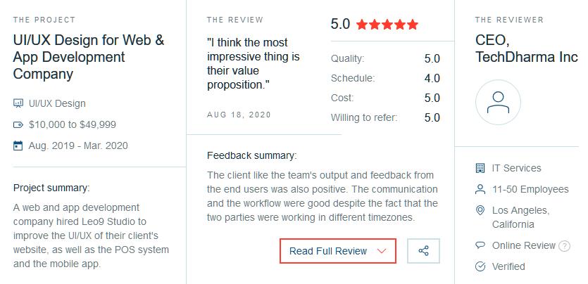 Clutch review for UI UX Agency in Mumbai Leo9 Studio