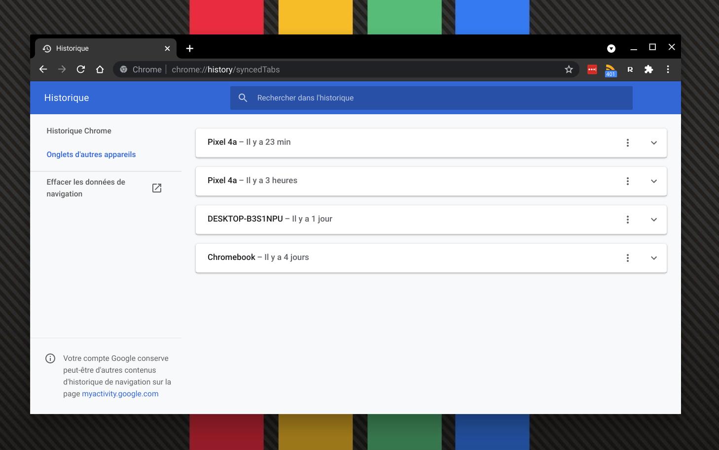 Retrouvez votre historique de navigation sur Chrome