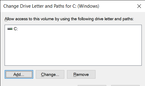 Select Add and choose a drive letter from the drop-down menu. Click on the Ok button to save changes.