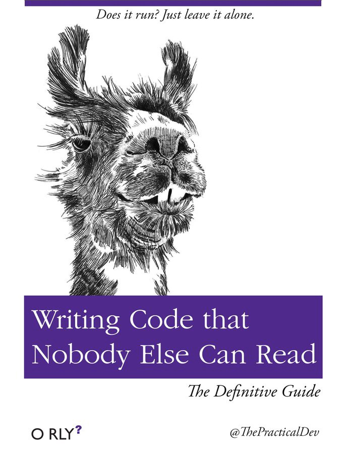 "The cover of a fake O'Reilly book entitled ""Writing Code that Nobody Else Can Read: The Definitive Guide"". The publisher is listed as O RLY? The credit is @ThePracticalDev."