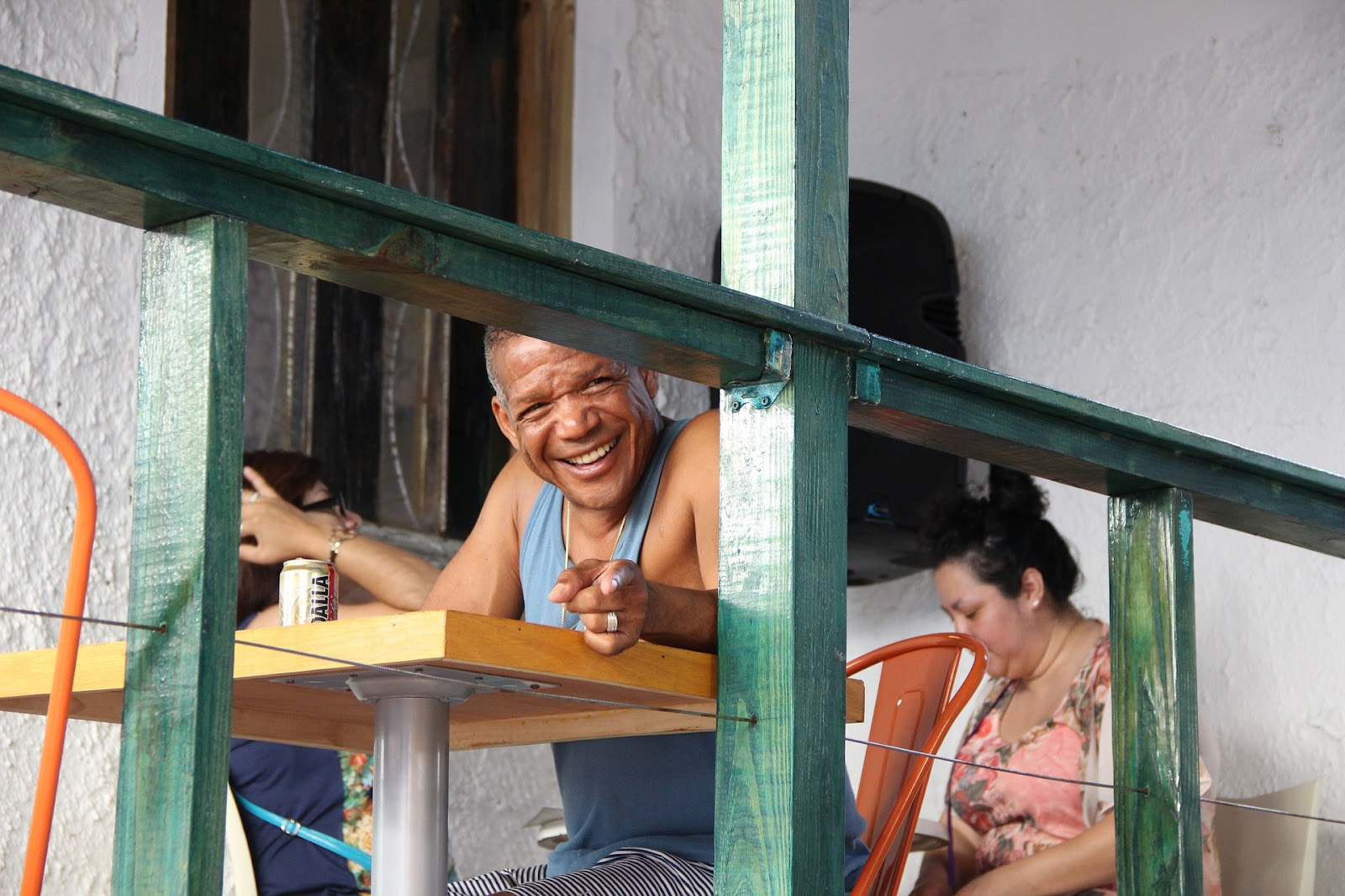 A man enjoy a restaurant in Puerto Rico
