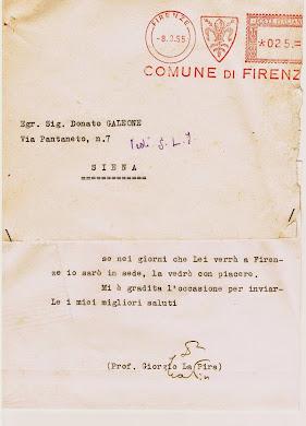 Lettera di La Pira a Donato Galeone
