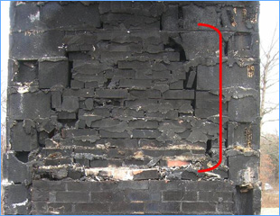 masonry chimney repair from design failure