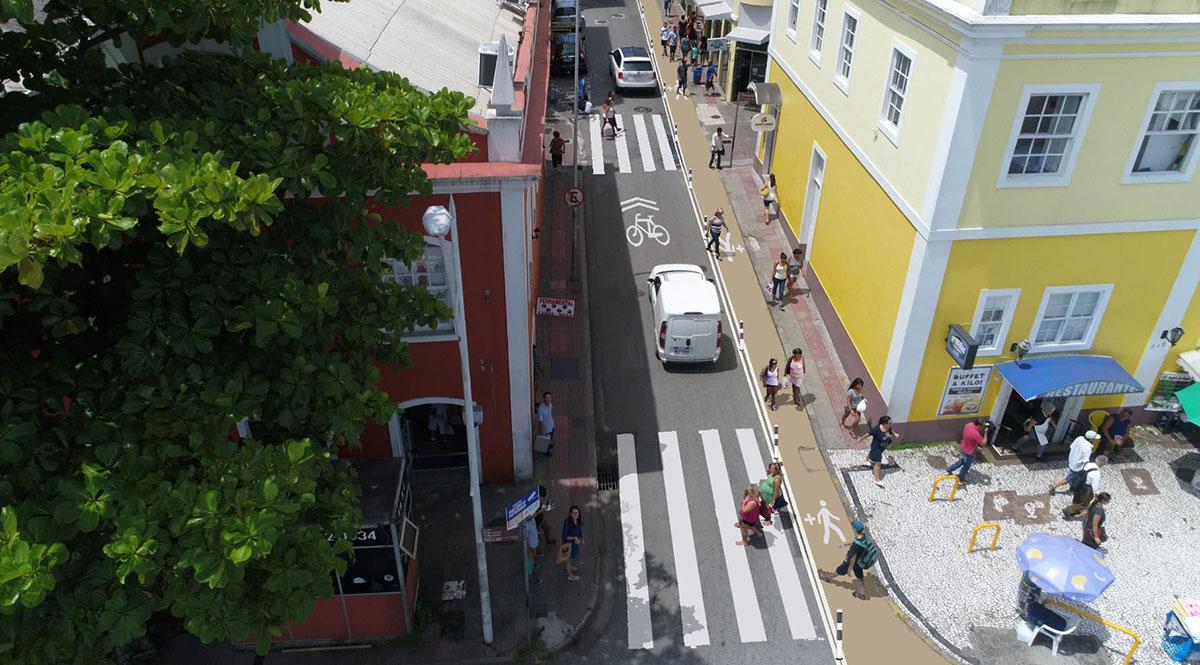 Ampliação de calçadas pode aprimorar o trânsito de Floripa. (Fonte: Prefeitura Municipal de Florianópolis)
