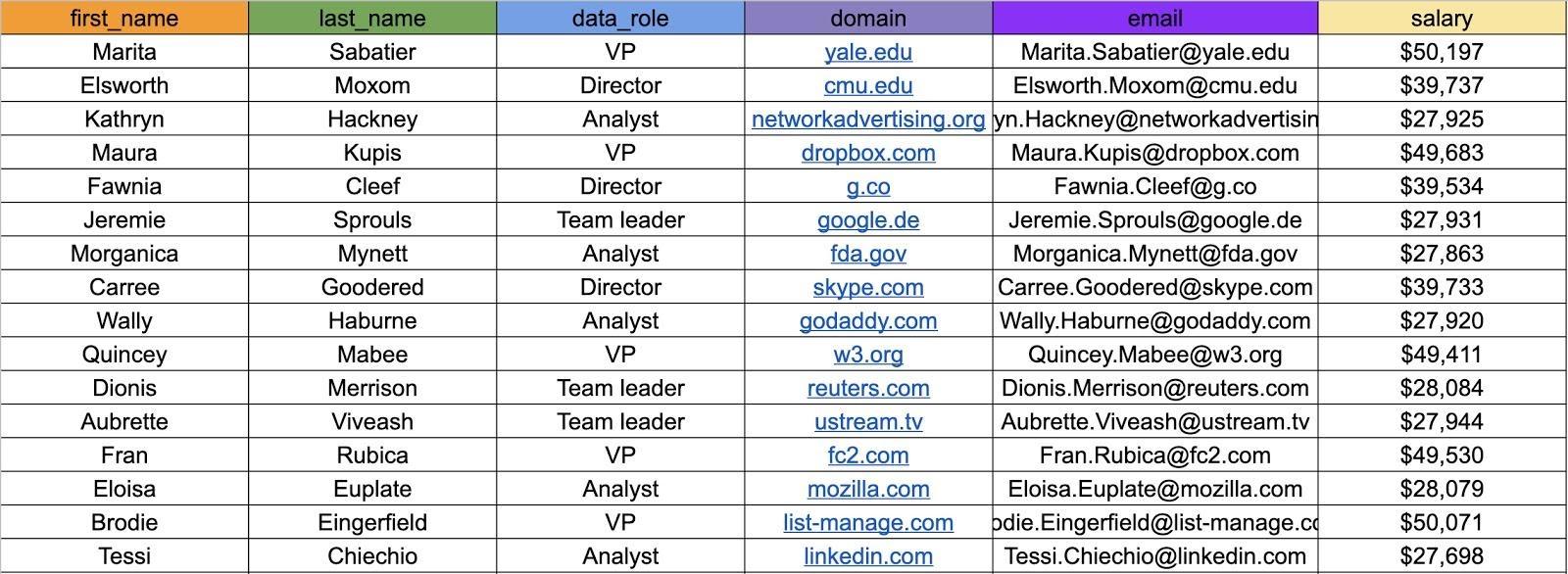 טבלת נתונים SQL עם עמודות: first name, last name, data role, domain, email, salary
