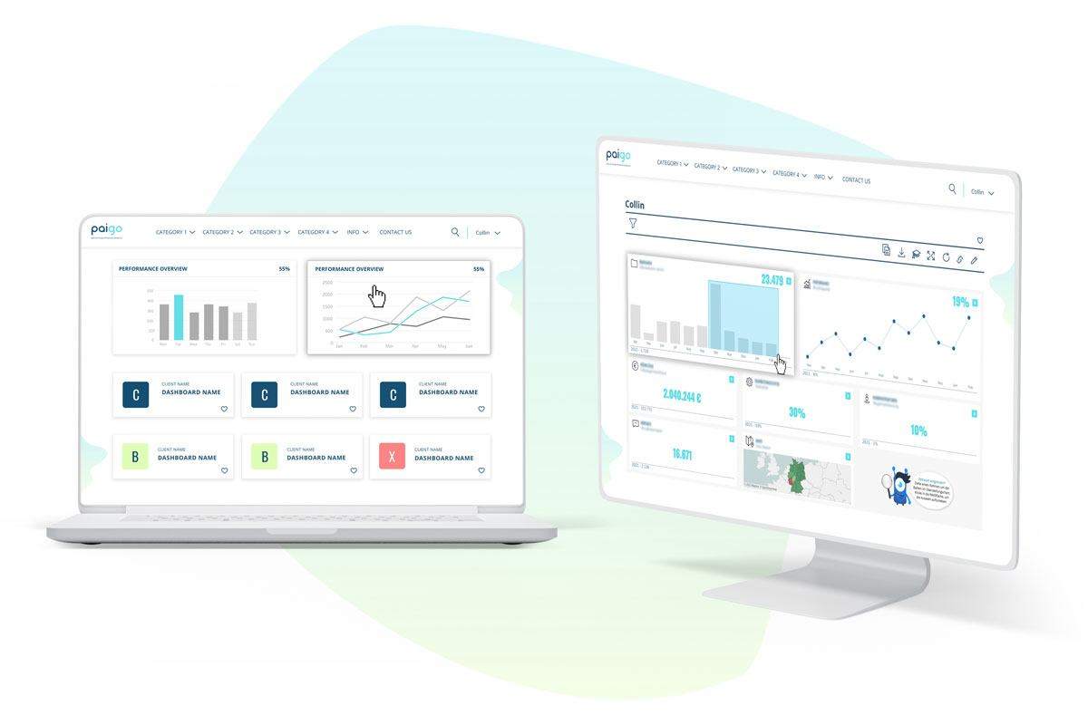 Two examples of Paigo's self-service Tableau dashboards, featuring line graphs, bar charts, category groupings, and more