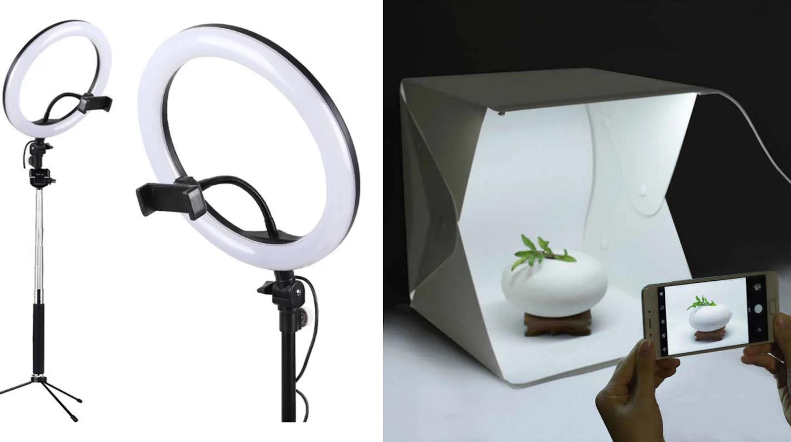 Anel de luz (à esquerda) e mini estúdio (à direita) são objetos baratos que podem ajudar a melhorar a qualidade das suas fotografias tiradas com o celular.