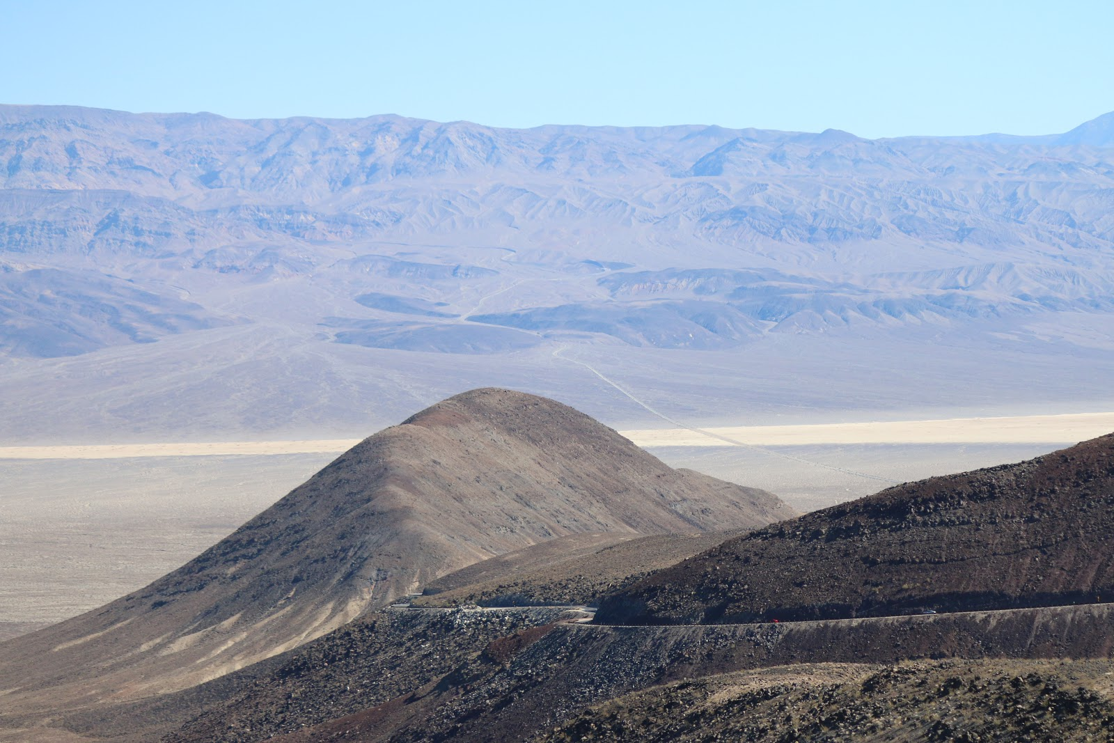 Panamint Grade - road and Towne Pass across valley