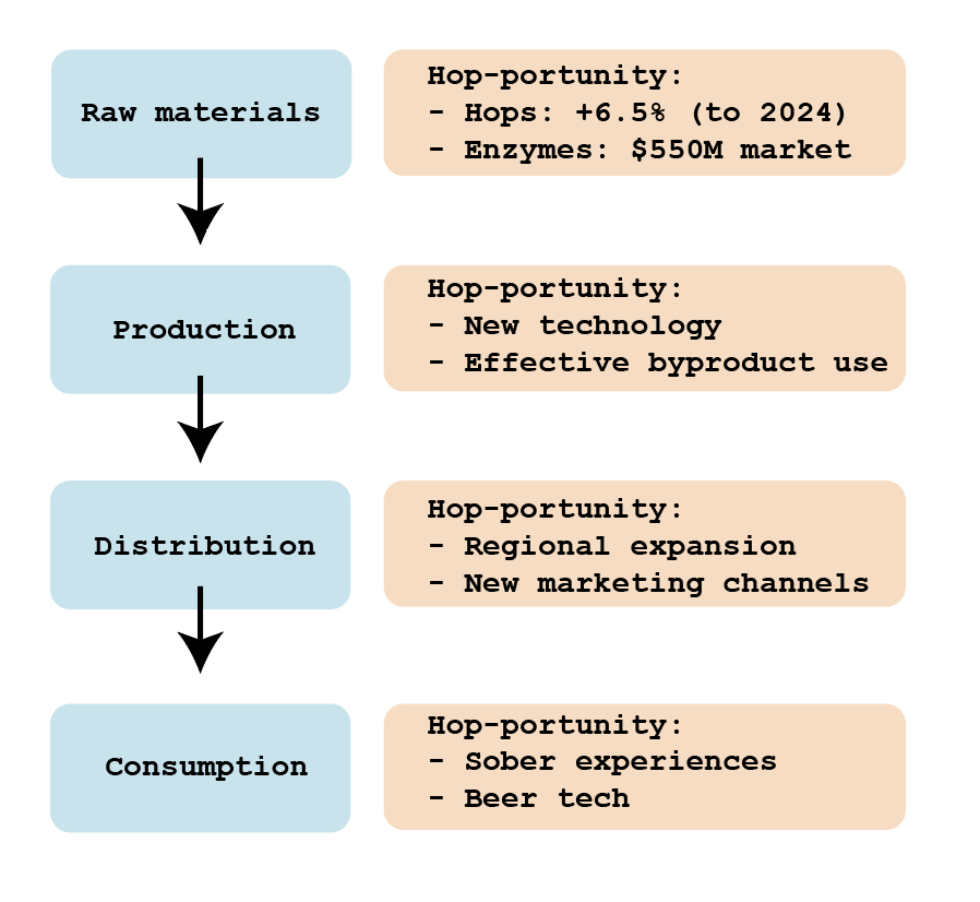Flow chart of the productions steps by beer companies